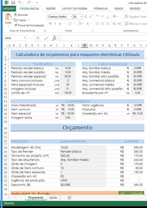 Calculadora para serviços de computação gráfica